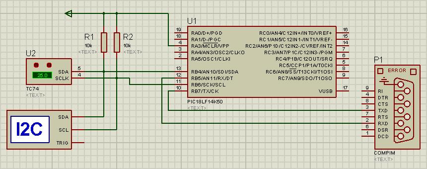 Figure 2. Communication setup in ISIS Proteus.