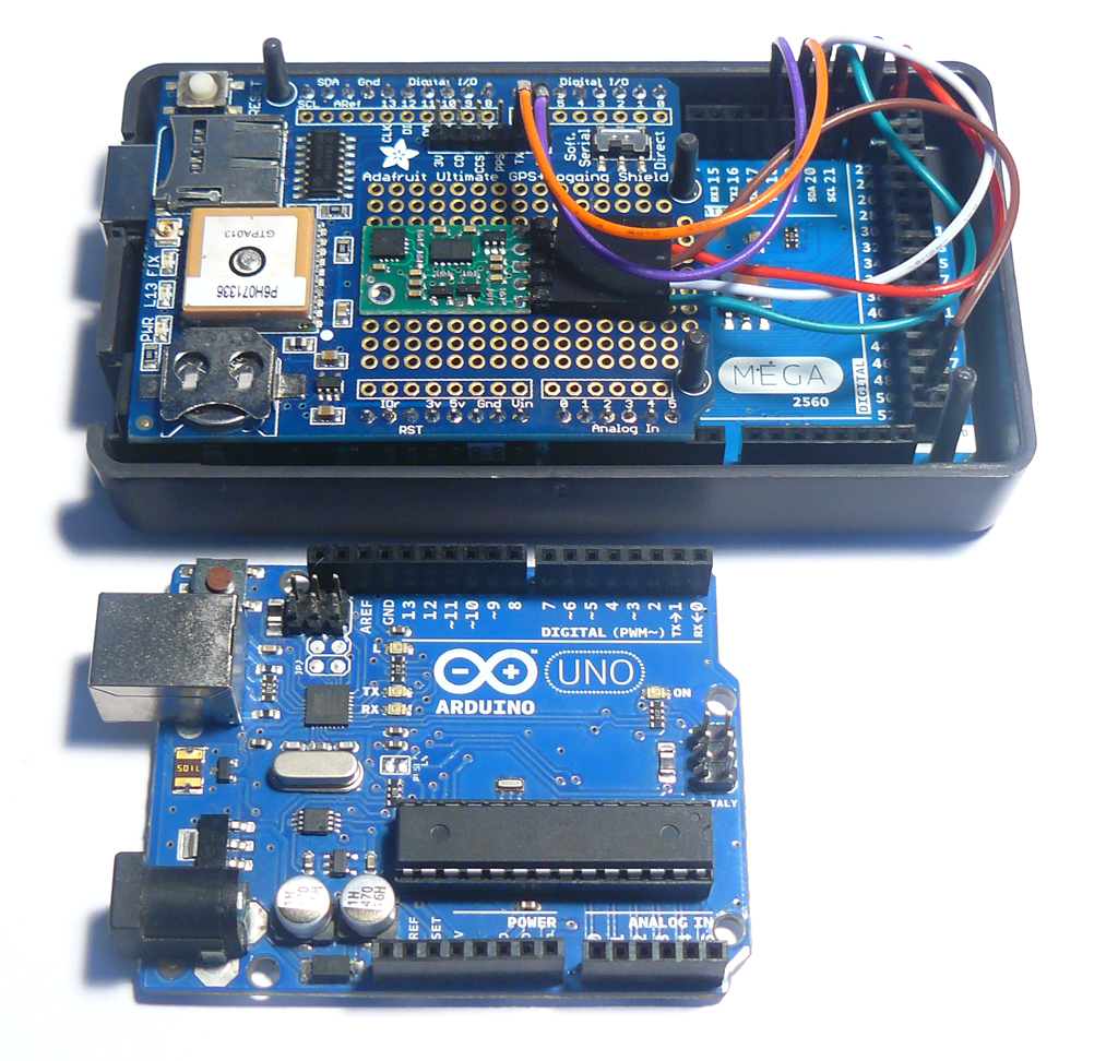 The new Arduino Mega 2560 alongside the previous Arduino Uno.