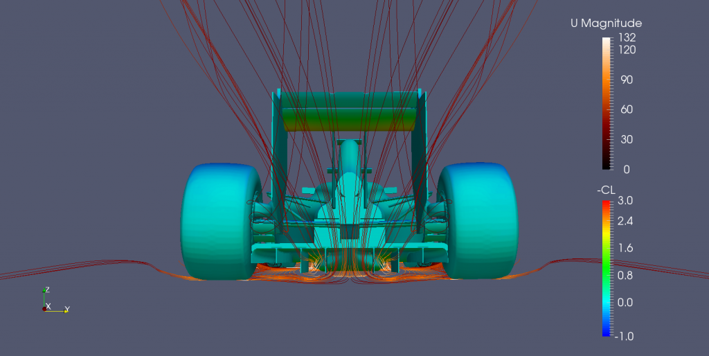 Undertray streamlines exiting through the diffuser.