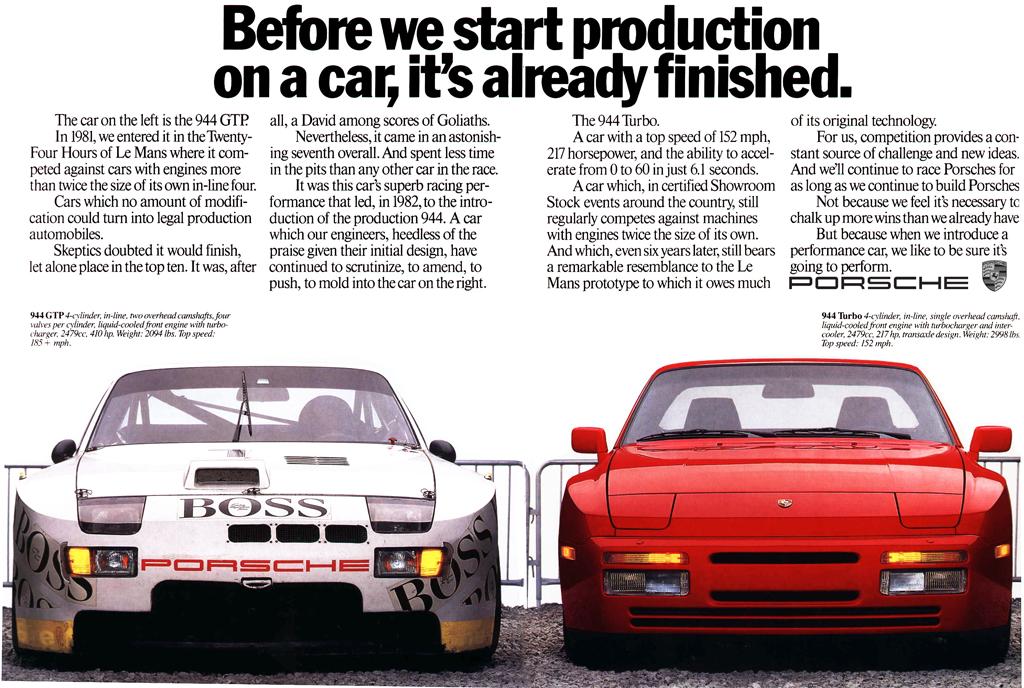 Porsche 944 advert.