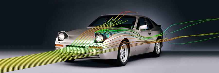 Porsche 944 streamlines render
