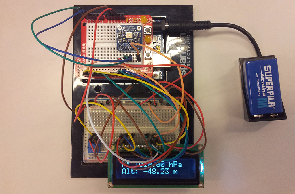 Figure 1. The Arduino UNO R3 reading the values from the barometric pressure sensor.