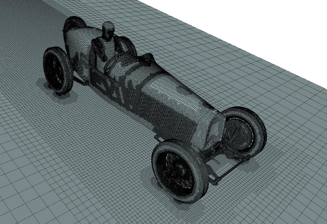 Alfa Romeo P2 surface mesh for CFD