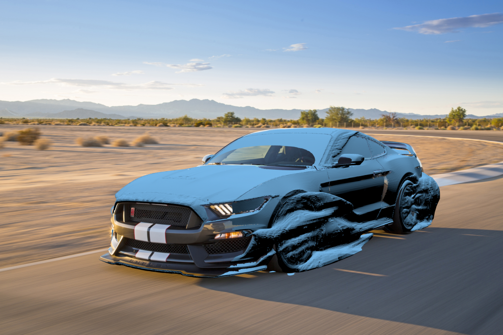 Total pressure isosurface Shelby GT350R Mustang.