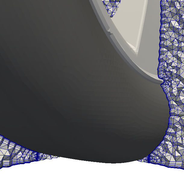 mesh with tetrahedrons in inner wedge